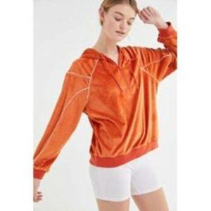 NWOT UO Kingston Orange Velour Half Zip Hoodie M